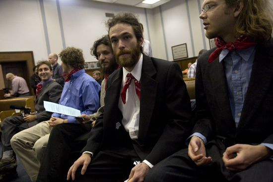 Jordan Freeman, Will Wickham, Charles Livingston Suggs,IV and Joe Gorman in West Virginia's Raleigh County Circuit Court, on May 1, 2009, where they and others were charged with contempt for violating a February 27, 2009 Temporary Restraining Order (TRO) issued by Massey Energy against activists with ClimateGroundZero.