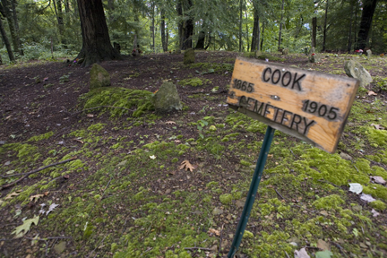 The main Cook Cemetery has 27 headstones, the oldest dating back to 1820. The cemetery has two additional sites. Currently Massey Energy is operating a mountaintop removal coal mine site less than three hundred yards away.  photograph (c) antrim caskey, 2009