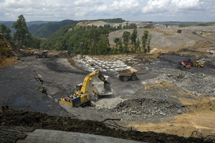 Massey Energy is operating a mountaintop removal coal site less than three hundred yards from the Cook family cemetery on Cook Mountain, WV.   photograph (c) antrim caskey, 2009