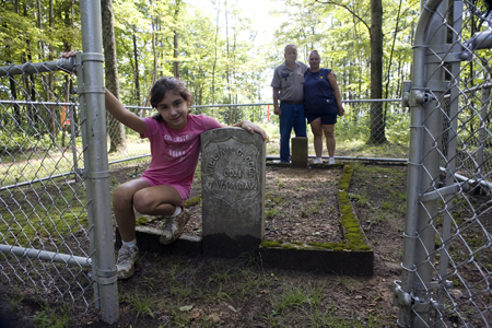 "Members of the Cook family visit the grave of their descendant, Civil War veteran, William Chapman ""Chap"" Cook, on Cook Mountain in Boone County, WV.  photograph (c) antrim caskey, 2009"